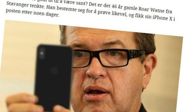 GLADE ROAR: Den etter alt å dømme fiktive Stavanger-mannen «Roar Watne» er en gjenganger i svindel-annonser. Både utseende, alder og varen han får kjøpe råbillig, varierer artikkel til artikkel. Foto: Skjermdump