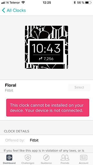 TILKOBLINGSPROBLEMER: Får du ikke koblet Versa på trådløsnettet, får du for eksempel ikke installert urskiver, ei heller brukt klokka. Skjermbilde: Dinside