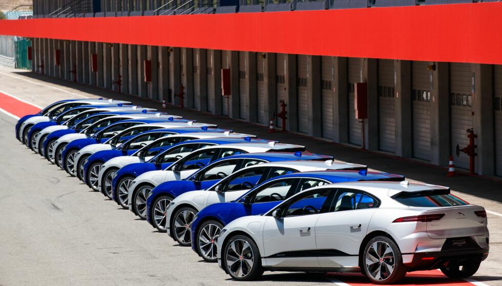 KLAR TIL DYST: Klargjorte I-Pace venter på at spente motorjournalister skal kjøre dem så fort de klarer. Foto: Nick Dimbleby