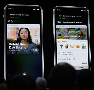 SIRI VIL GJØRE MER: I iOS 12 vil alle apper være kompatible med Siri. Du kan også lage egne snarveier, som vil utføre handlinger i en rekke forskjellige apper . Foto: Marcio Jose Sanchez/AP Photo/NTB Scanpix