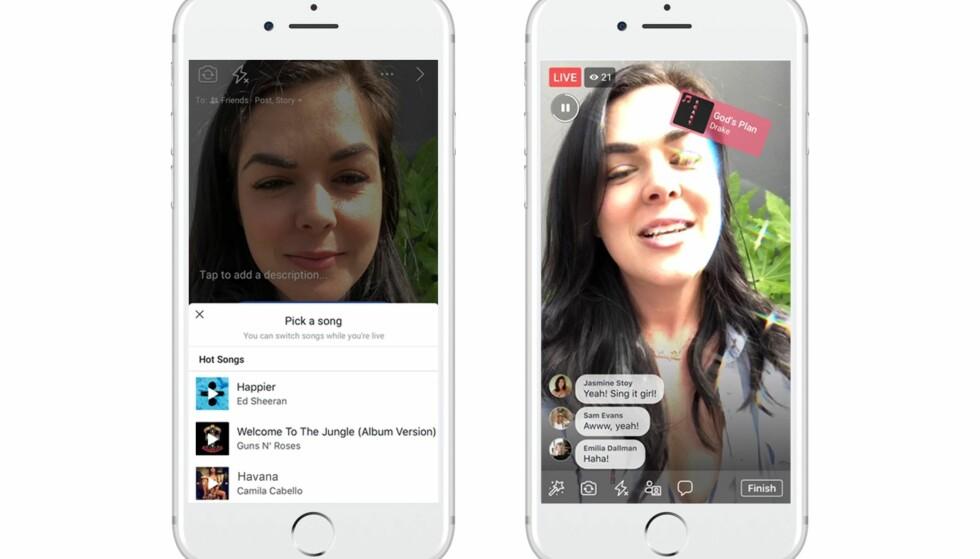 DIREKTESENDT MIMING: Lip Sync Live er Facebooks nye funksjon som lar deg mime til kjente låter på direkten. Foto: Facebook
