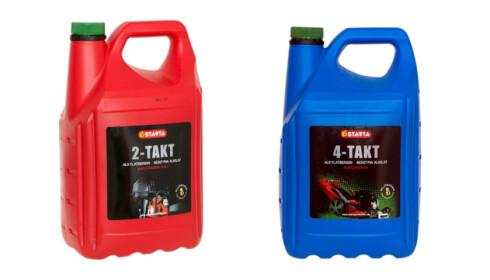 TO UTGAVER: Alkylatbensin finnes både for 2-takters (med oljeblanding) og 4-takters motorer. Alle moderne gressklippere bruker det siste. Foto: Produsenten