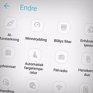 MYE GREIER: Her ser du bare noen av alle funksjonene i Zenfone 5 sin Android-utgave. Etter vår mening skaper det rot, og bremser ytelsen. Foto: Ole Petter Baugerød Stokke