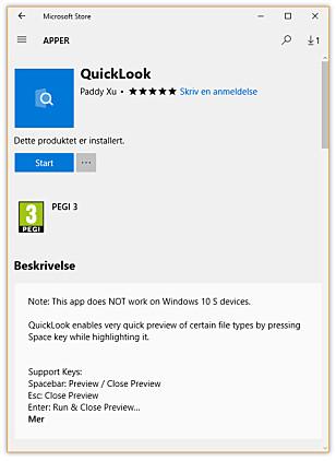 FRA BUTIKKEN: QuickLook er gratis å laste ned fra app-butikken til Windows 10, som gjør det ekstra enkelt. Foto: Ole Petter Baugerød Stokke