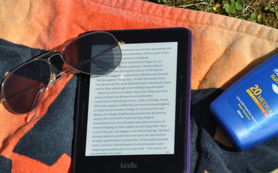 SJEFEN I SOLA: Amazons Kindle-lesebrett blir faktisk enda mer lesbar i direkte solskinn enn inne i stua. For lesehesten er dett eller andre e-boklesere førstevalget på stranda. Foto: Tore Neset