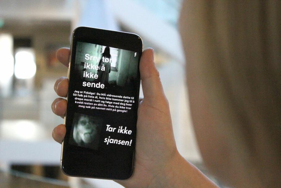 NY KJEDEMELDING PÅ SNAPCHAT: Denne sprer seg nå blant barn og unge på Snapchat. Foto: Kirsti Østvang
