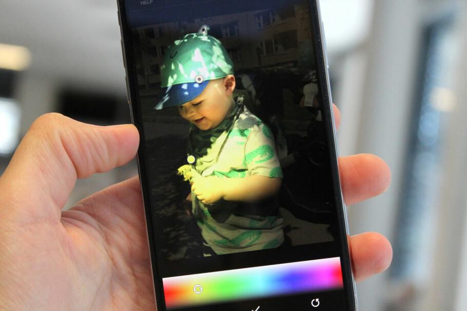 FLERE FARGER: Med appen Apollo kan du lyssette iPhone-portrettbildene dine i forskjellige farger. Foto: Kirsti Østvang