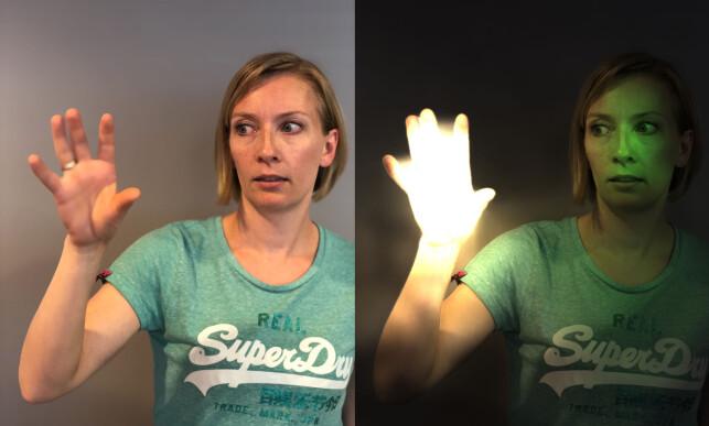 SIMSALABIM: Og vips, fikk kollega Berit magiske krefter! Foto: Kirsti Østvang