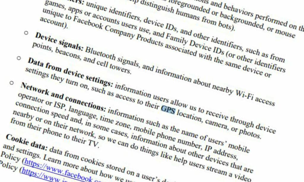 LANG LISTE: Facebook bruker 250 sider på å beskrive hva de samler inn om brukernes daglige gjøremål. Faksimile: U.S. Senate Committee on the Judiciary