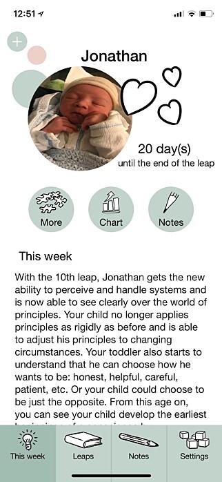 UTVKLINGSSPRANG: Appen Wonder Weeks kan fortelle deg når babyen gjennomgår sine store utviklingssprang. Skjermbilde: Kirsti Østvang