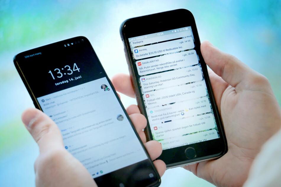 ROT: Slik så Android-mobilen og iPhone-en vår ut. Så tok vi en runde for å rydde opp i varslene våre. Foto: Ole Petter Baugerød Stokke