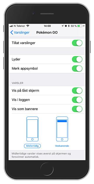 VARSLER PÅ IPHONE: Hver eneste app på iPhone-en din har disse valgene. Her kan du skru av varsler totalt, eller styre hvor forstyrrende de får lov til å være. Foto: Ole Petter Baugerød Stokke