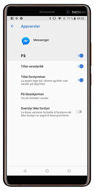 VARSLER PÅ ANDROID: Alle appene på Android-mobilen din gir deg disse mulighetene til å skru av og styre varslene. Noen har også flere valg enn dette. Foto: Ole Petter Baugerød Stokke