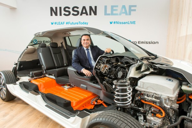 DET VAR DA: Ved siden av Elon Musk er det toppsjefen i Nissan-Renault-alliansen, Carlos Ghosn (bildet), som bærer mye av ansvaret for at elbilrevolusjonen kom i gang.