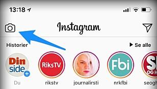 TRYKK HER: For å laste opp et bilde eller en video til Instagram Stories, trykker du på kameraikonet oppe i venstre hjørne fra Instagram-feeden din. Skjermbilde: Kirsti Østvang