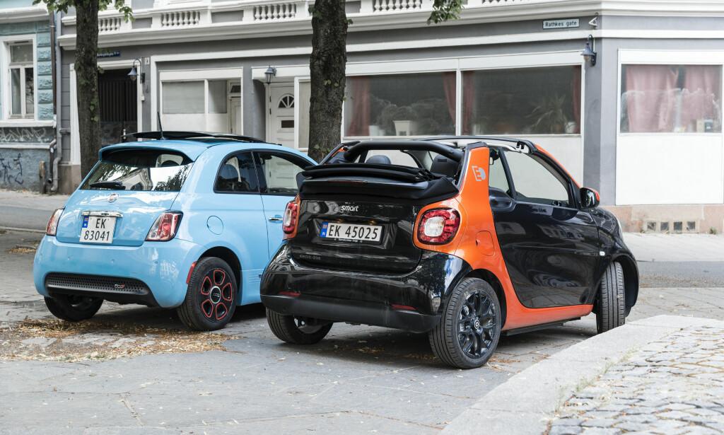 INGEN ELBIL-SUKSESS: Fiat 500e og elektriske Smart ForFour fikk ingen nordmenn til å gå mann av huse ... Foto: Jamieson Pothecary