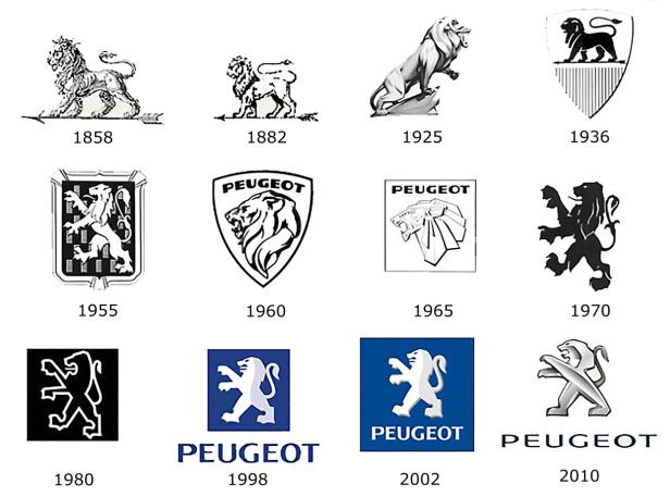 ÈN GANG LØVE, ALLTID LØVE: Slik har Peugeots løve-logo utviklet seg siden 1858.