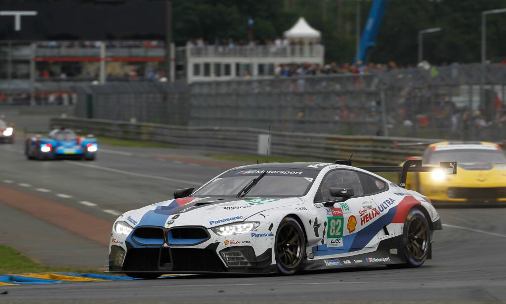 TILBAKE I LE MANS: Racing-versjonen av nye 8-serie, M8 GTE, hadde première i årets utgave av 24-timersløpet i Le Mans. BMW var litt uheldige i debuten og det endte med en 12. plass og ett brudd. Foto: BMW