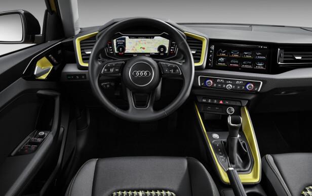 PERSONIFISERING: Det blir mulig å piffe opp interiøret etter egen smak. Den «virtuelle cockpiten» på bildet er tilvalg. Foto: Audi