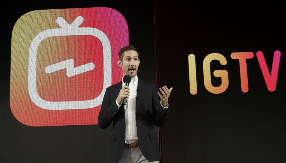 SATSER PÅ VIDEO: Instagram-sjef Kevin Systrom har lansert en ny app kalt IGTV som lar brukerne laste opptil én time lange videoer. Foto: Jeff Chiu/AP Photo/NTB Scanpix
