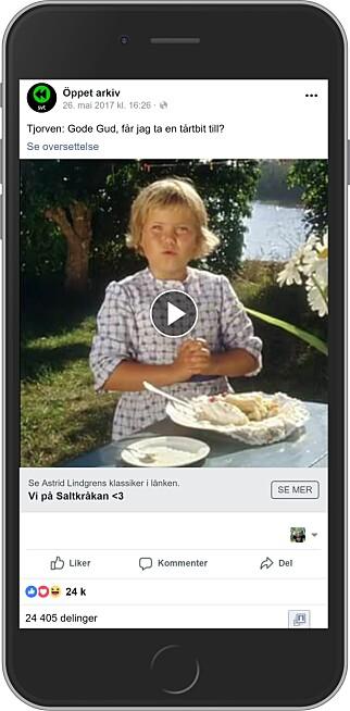 EKTE VARE: Tjorven-videoen kommer fra SVT selv, og deles helt frivillig. Foto: Ole Petter Baugerød Stokke