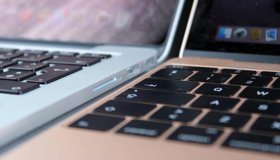 GAMMELT VS. NYTT: Tastene på det nye MacBook-tastaturet har kortere vandring, og krever mindre innsats per tastetrykk. Foto: Kirsti Østvang