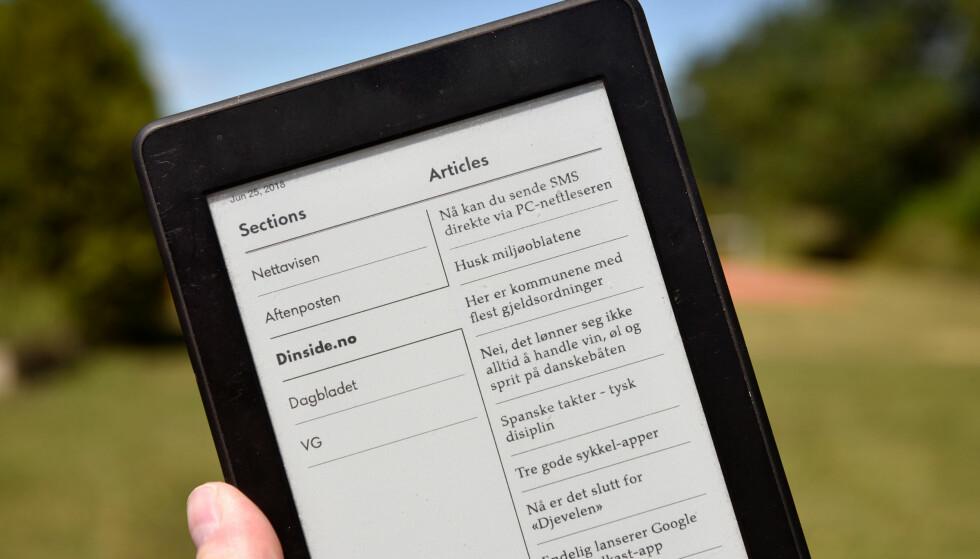 RENT OG PENT: Med tjenesten Keendly kan du enkelt laste opp de siste artiklene fra norske nettaviser (og andre nettsteder) på en Kindle-enhet. Foto: Pål Joakim Pollen