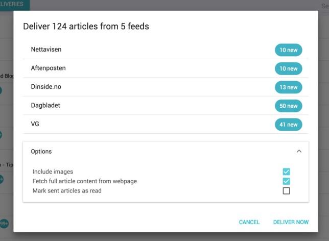 Velg feedene du vil ha levert på Kindle-enheten, og om du vil ha med bilder. Dernest går det noen sekunder før innholdet er klart på lesebrettet. Skjermbilde: Pål Joakim Pollen