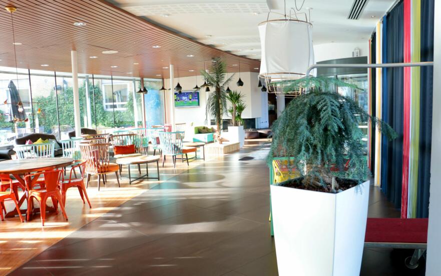 BESTE HOTELL I FREDERIKSHAVN? Ifølge TripAdvisor, er The Reef det beste hotellet i Frederikshavn. Det kan vi rett og slett ikke skjønne. Med unntak av foajéområdet rundt baren og kaféen, er det mye slitent og slitt - og det minner mest av alt om en forlengelse av danskebåten. Foto: Berit B. Njarga