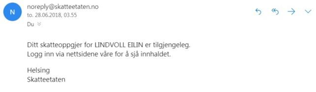 EKTE VARE: Slik ser gjerne ekte e-poster fra Skatteetaten ut. De ber deg logge inn via nettsiden deres. Foto: skjermdump.