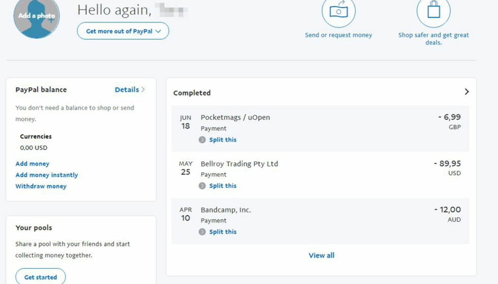 TRONER ØVERST: PayPal er det gjeveste en nettbanditt kan få tak i, skal vi tro prisstatistikken fra det mørke nettet. Foto: Skjermdump