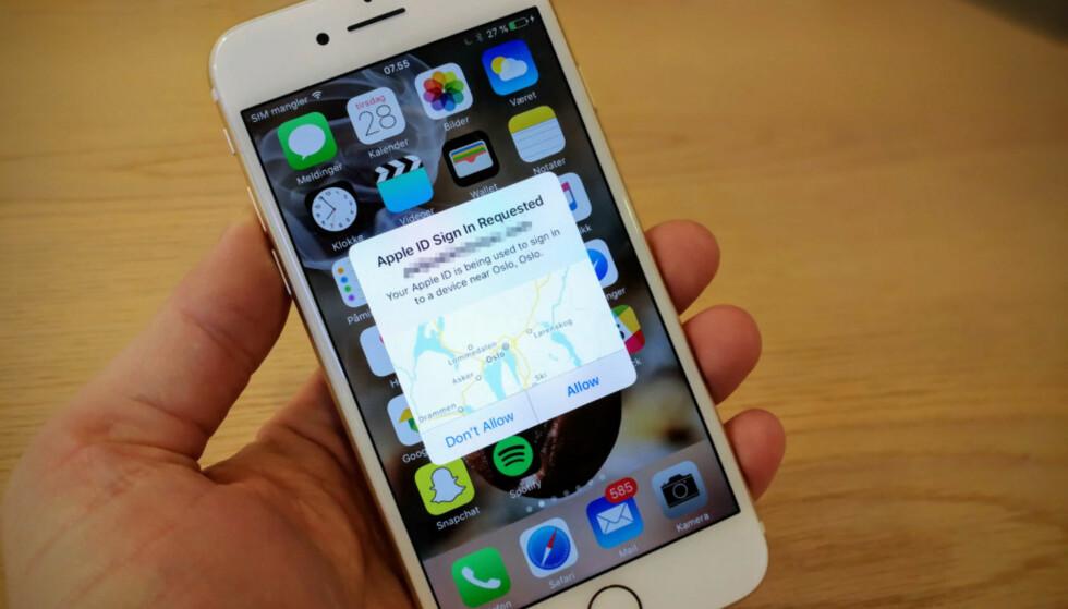 FLERE STEG: En Apple-konto er ikke så lett å kapre lenger. Derfor er prisen på brukeropplysninger beskjeden. Foto: Pål Joakim Pollen