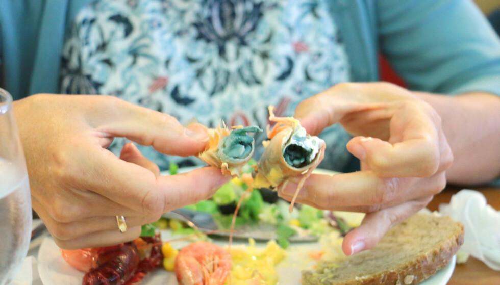 IKKE HELT KOKT: Det var ikke bare vi som ble overrasket over fargen på sjøkrepsen fra bufféen, og det var flere enn oss som lot være å spise den. Ifølge skalldyrekspert Sten Siikavuopio ved Nofima, som har sett på dette bildet, skyldes blåfargen at krepsen er kokt for lite og ved for lav temperatur - som fører til at blodet til krepsen oksiderer og gir misfarging av kjøttet. (Krepseblod inneholder kobber isteden for jern, som hos mennesker, som gir denne blå /sorte misfargingen av kjøttet.) Det er ikke farlig å spise den, men holdbarheten er kortere. Foto: Berit B. Njarga