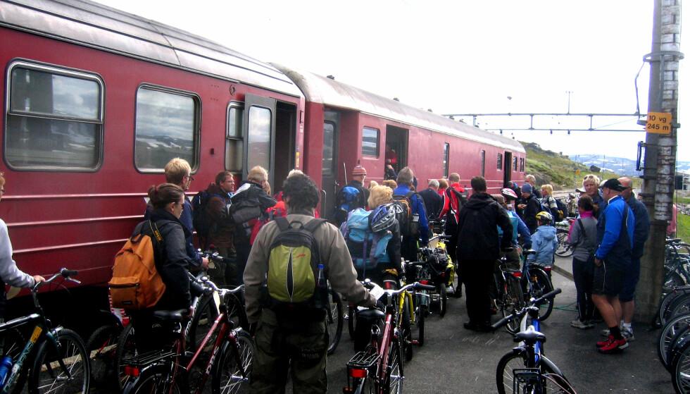 SYKKELTOG: Bergensbanen er godt tilrettelagt for syklister på grunn av den populære Rallarvegen. Men ellers variererer mulighetene for å ta med sykkelen på toget på de ulike strekningene. Foto: Vidar Knai/NTB Scanpix