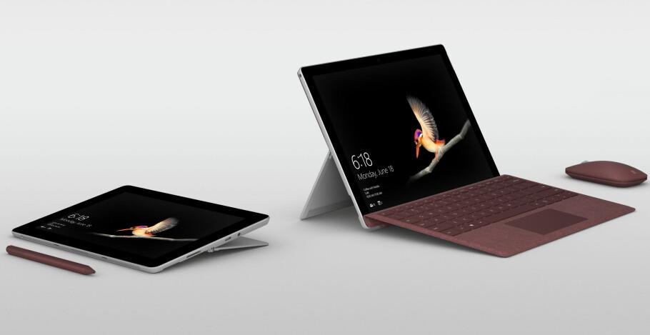BRETT OG PC I ETT: Surface Go blir det rimeligste medlemmet av Surface-familien, og henvender seg til brukere som trenger full PC-funksjonalitet og samtidig ønsker å være så mobil som mulig. Foto: Microsoft