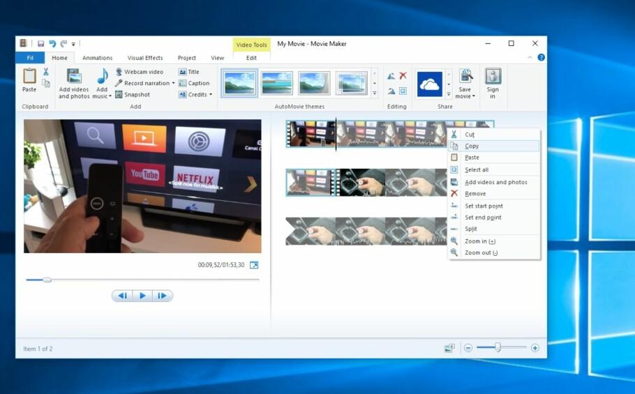FUNGERER FINT: Her kjører vi Movie Maker i Windows 10, og videoredigeringsprogrammet fungerer tilsynelatende helt fint. Men les advarslene før du følger tipset vårt. Skjermdump: Dinside.no