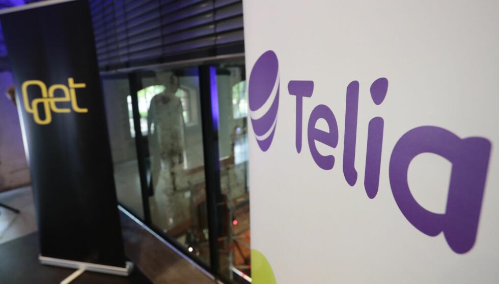 GÅR SAMMEN: Telia er i dag nummer to på mobil i Norge. Når de nå har kjøpt bredbånds- og TV-distributøren Get blir de en mer jevnbyrdig konkurrent til markedslederen Telenor. Foto: Lise Åserud/NTB scanpix