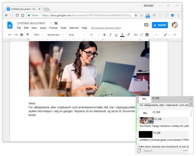 LATTERLIG ENKELT: Her har vi trykket kontroll-shift-V i Google Docs, og får opp Ditto-lista over alt vi har kopiert, som dermed kan limes inn ved å bare trykke opp og ned i lista. Legg merke til at den inneholder både tekst og bilder. Foto: Ole Petter Baugerød Stokke