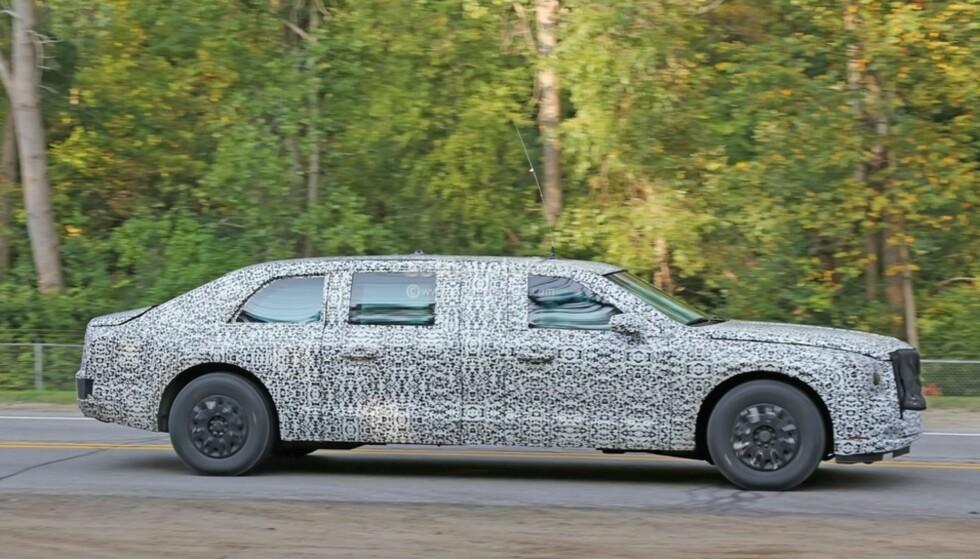 SPIONFOTO: Bilen er riktignok bygget av Cadillac, men kjøretøyet som president Donald Trump får på sensommeren, er ikke å få kjøpt i butikken. Foto: Fox News