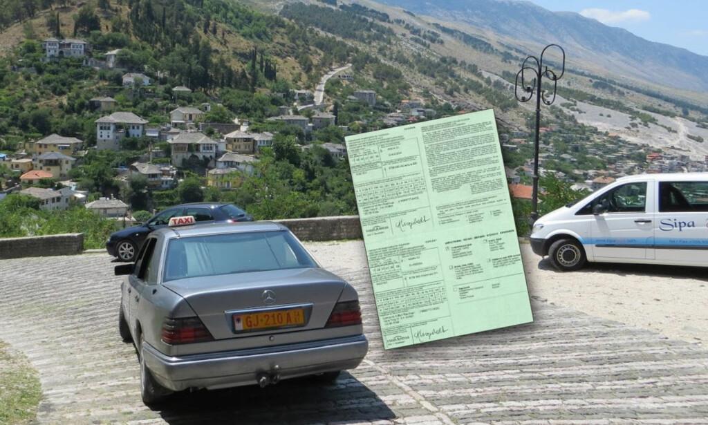 ALBANIA: I mange øst-europeiske land, som her i Albania, kreves et grønt kort som viser at du har bilforsikring. Ellers kan du bli stoppet. Foto: Bjørn Eirik Loftås