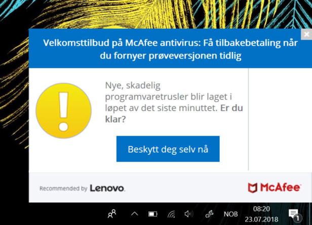 PRANGENDE: Dette er bare en av flere popup-meldinger som dukker opp på skjermen i tide og utide. Skjermdump: Dinside