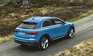 UTEN SPORTBACK: Til sammenligning ser vanlige Audi Q3 slik ut. Legg merke til takrelingene, og fravær av spoiler på bagasjeluken. Foto: Audi