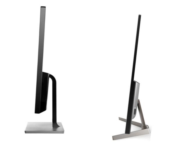 HØYREIST: AOC (til venstre) rager høyere over bordplaten enn Voxicon. Merk at dette er to bilder som er satt sammen til ett, så forholdene mellom dem blir ikke helt korrekte: Foto: Produsentene