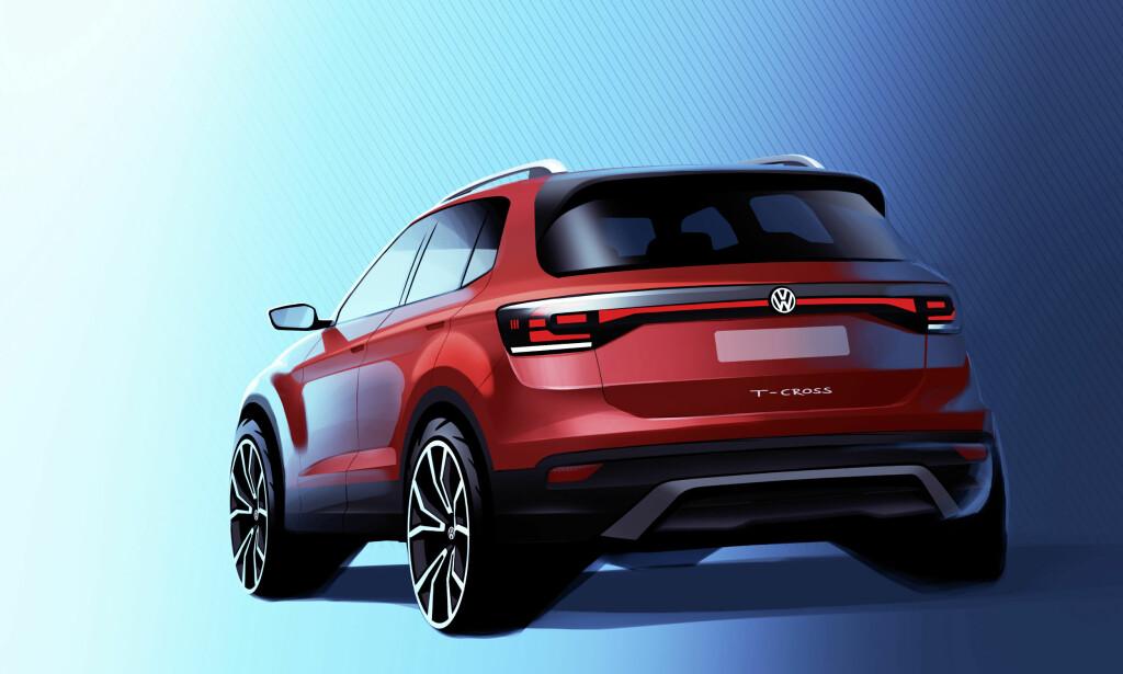 I STORE TREKK: Skissen viser design-ingrediensene som er delvis skjult av kamuflasje på testbilene, men selvsagt er bredde og hjulstørrelse overdrevet på tegningen. Illustrasjon: Volkswagen
