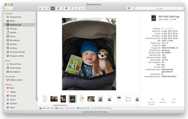 ENDELIG METADATA: I den nye gallerivisningen kan du endelig se metadata på bildene dine. Du kan også rotere bilder direkte. Skjermbilde: Kirsti Østvang