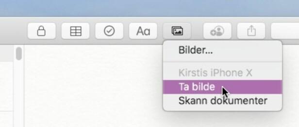 RASKERE: I stedet for å ta et bilde på iPhone, for så å overføre det manuelt til Mac-en og så legge inn i et dokument, er det mye kjappere med den nye Continuity Camera-funksjonen. Skjermbilde: Kirsti Østvang