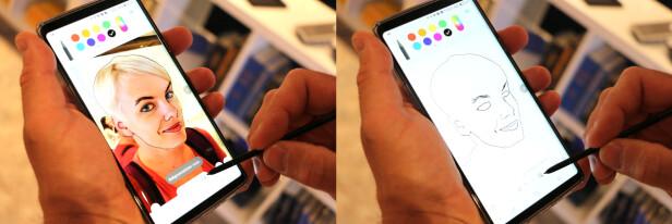 <strong>TEGN DEG SELV:</strong> En av de nye tingene du kan gjøre med S Pen på Note 9 er å tegne oppå bilder du har tatt med kameraet. Eller prøve å tegne, i hvert fall ... Foto: Kirsti Østvang
