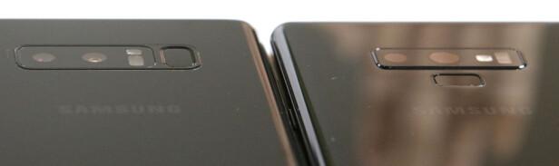 <strong>FLYTTET FINGERSENSOREN:</strong> Akkurat som på Galaxy S9 har Samsung flyttet fingersensoren fra siden av kameraet på Note 8 (til venstre) til under kameraet på Note 9 (til høyre). En langt mer fornuftig plassering; det var faktisk vårt største ankepunkt med forgjengeren. Foto: Kirsti Østvang