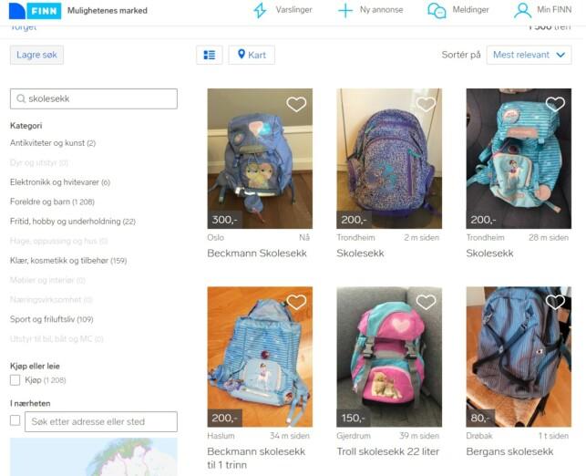 SALG AV SEKKER: Et kjapt søk på Finn.no viser at det er flere fine skolesekker til barn der ute, som ikke sprenger skolestartbudsjettet. Foto: skjermdump.