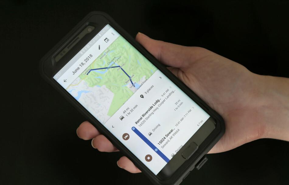 SPORER DEG: Bruker du Google Maps, blir bevegelsene dine lagret og du kan se all aktiviteten på et kart i ettertid. (AP Photo/Seth Wenig) Foto: Seth Wenig/AP Photo/NTB Scanpix